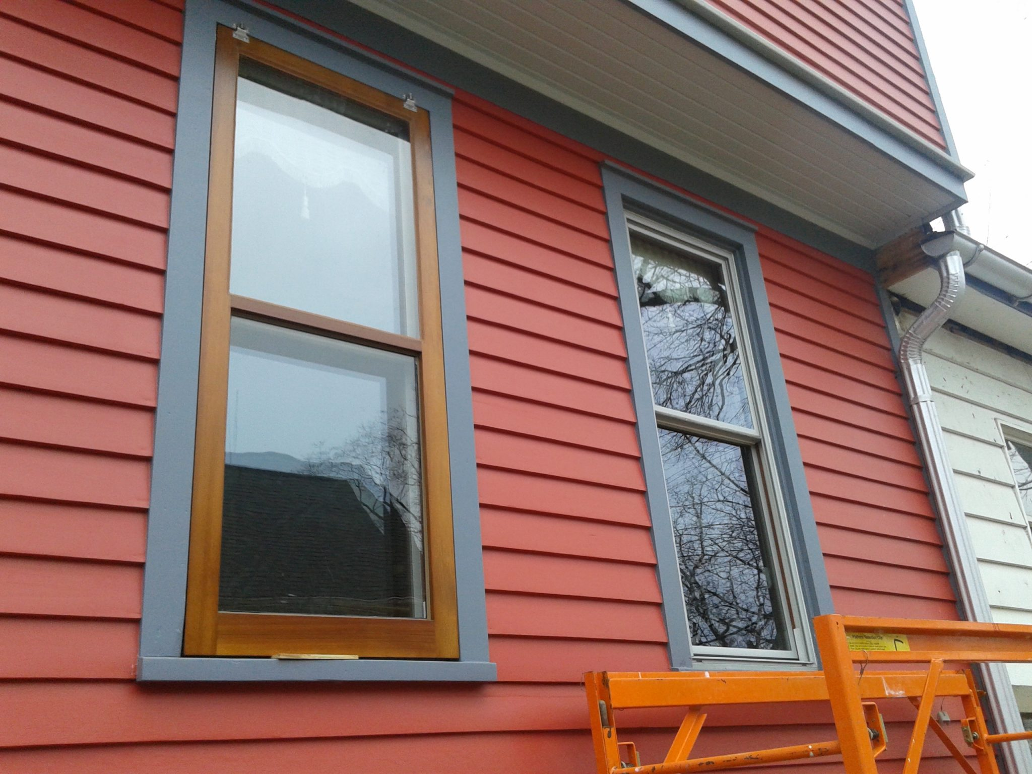 Wood Storm Window Mounting Before and After
